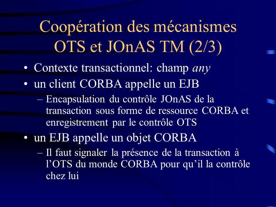 Coopération des mécanismes OTS et JOnAS TM (2/3) Contexte transactionnel: champ any un client CORBA appelle un EJB –Encapsulation du contrôle JOnAS de la transaction sous forme de ressource CORBA et enregistrement par le contrôle OTS un EJB appelle un objet CORBA –Il faut signaler la présence de la transaction à lOTS du monde CORBA pour quil la contrôle chez lui