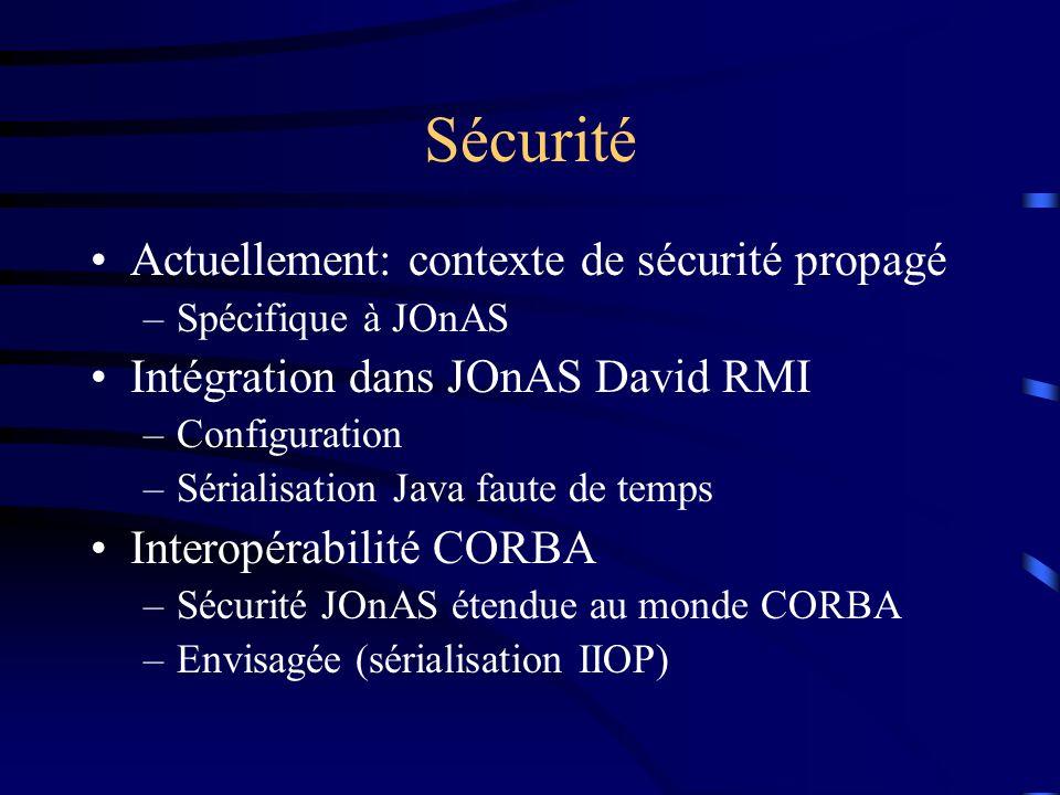 Sécurité Actuellement: contexte de sécurité propagé –Spécifique à JOnAS Intégration dans JOnAS David RMI –Configuration –Sérialisation Java faute de temps Interopérabilité CORBA –Sécurité JOnAS étendue au monde CORBA –Envisagée (sérialisation IIOP)