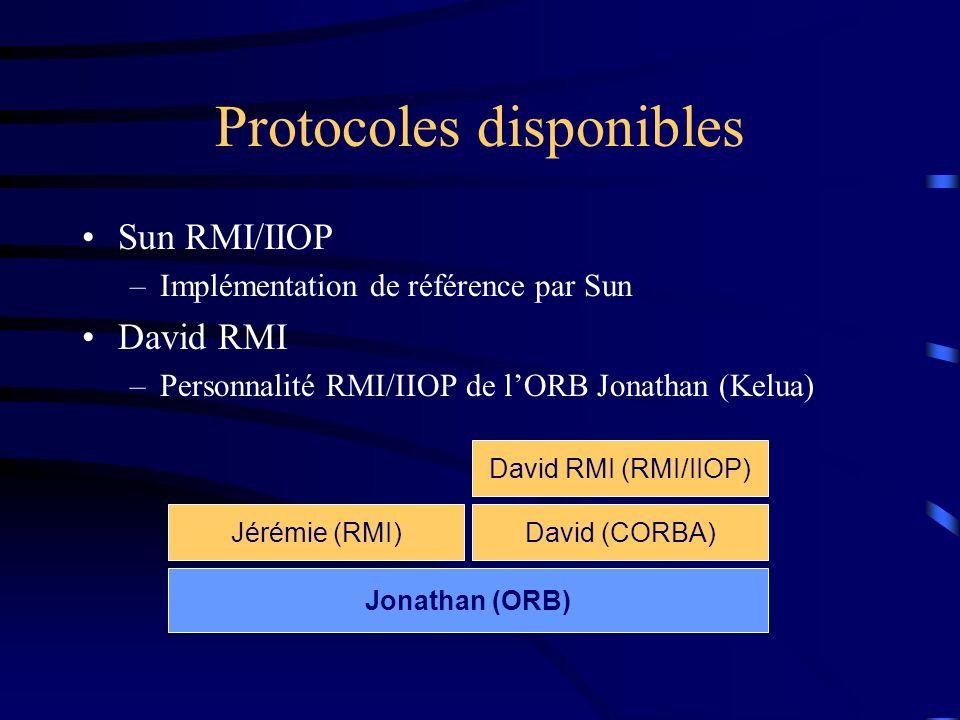 Protocoles disponibles Sun RMI/IIOP –Implémentation de référence par Sun David RMI –Personnalité RMI/IIOP de lORB Jonathan (Kelua) Jonathan (ORB) Jéré