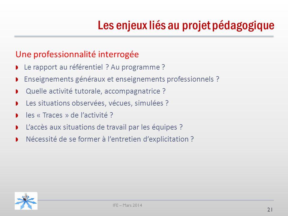 IFE – Mars 2014 Une professionnalité interrogée Le rapport au référentiel .