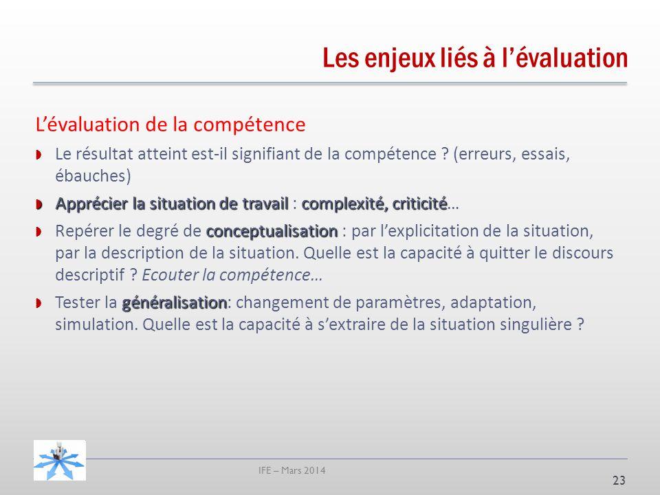 IFE – Mars 2014 23 Lévaluation de la compétence Le résultat atteint est-il signifiant de la compétence .