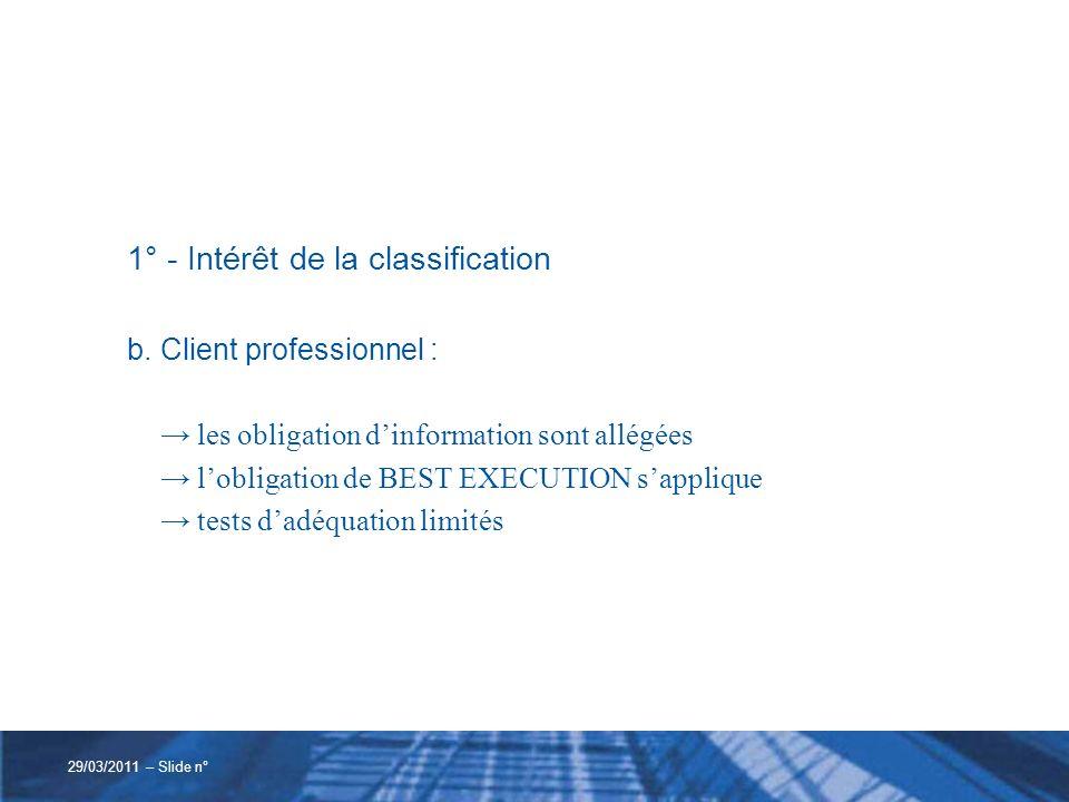1° - Intérêt de la classification c.Contreparties éligibles : obligation dinformation allégée aucune autre obligation 29/03/2011 – Slide n°