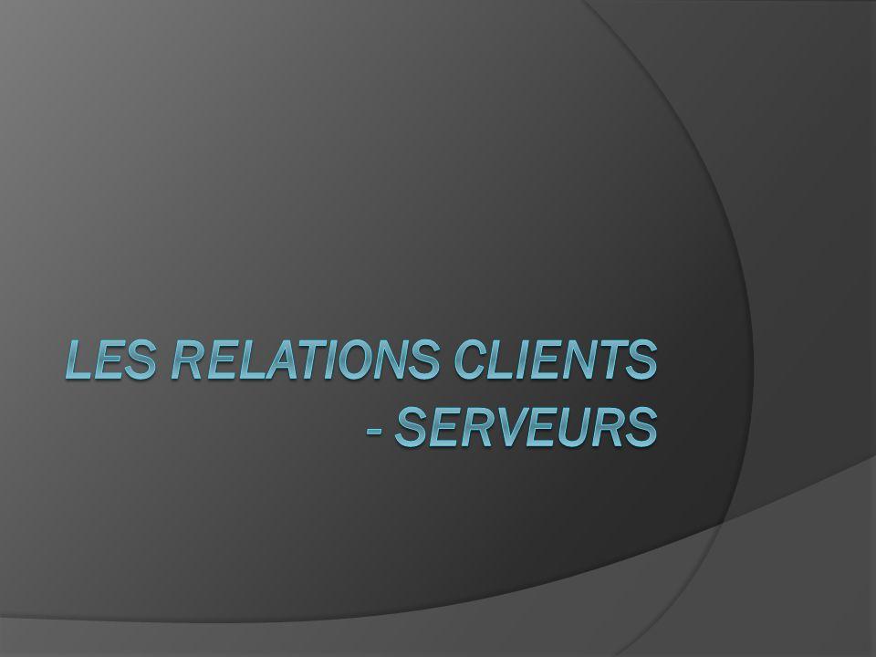 Relation clients - serveurs Les clients et serveurs sont utilisés pour : envoyer un courriel entrer des informations dans un blog Acheter sur une boutique en ligne.