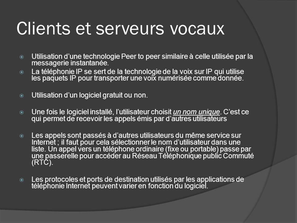 Clients et serveurs vocaux Utilisation dune technologie Peer to peer similaire à celle utilisée par la messagerie instantanée. La téléphonie IP se ser