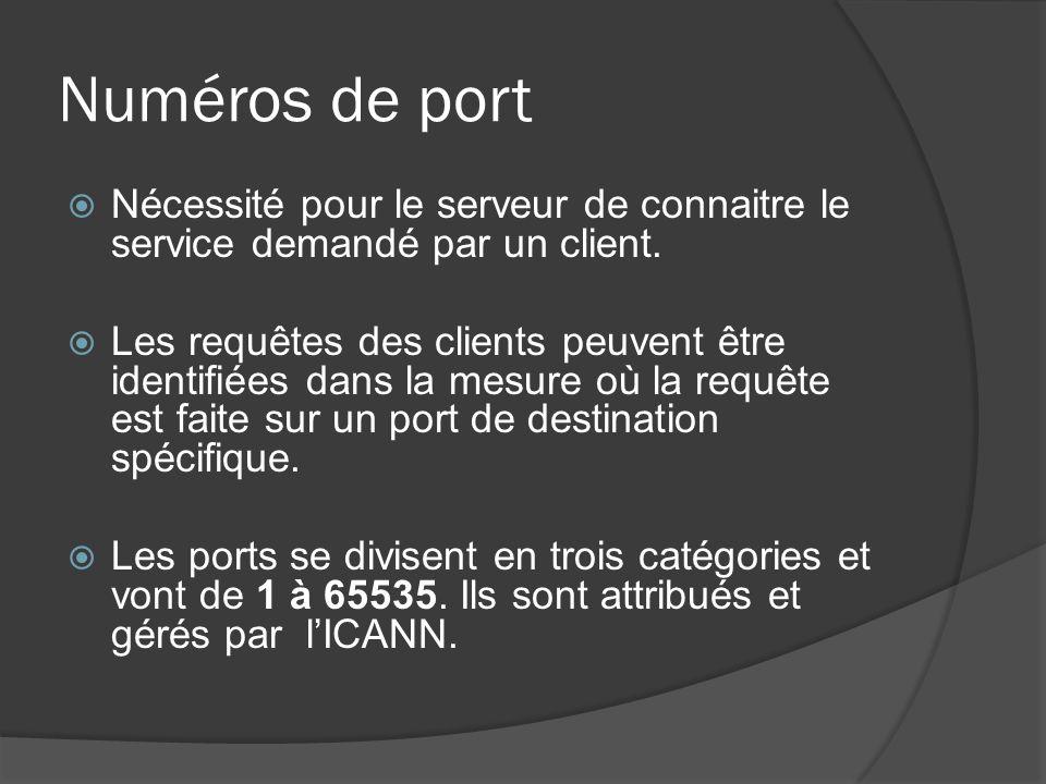Numéros de port Nécessité pour le serveur de connaitre le service demandé par un client. Les requêtes des clients peuvent être identifiées dans la mes
