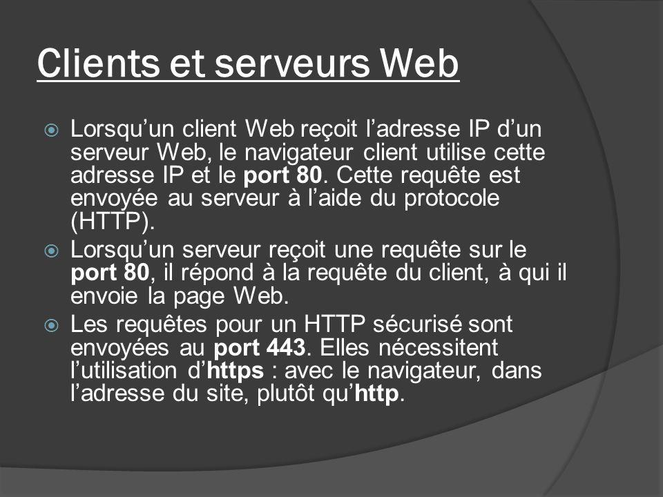 Clients et serveurs Web Lorsquun client Web reçoit ladresse IP dun serveur Web, le navigateur client utilise cette adresse IP et le port 80. Cette req