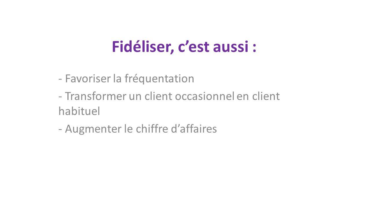 Fidéliser, cest aussi : - Favoriser la fréquentation - Transformer un client occasionnel en client habituel - Augmenter le chiffre daffaires