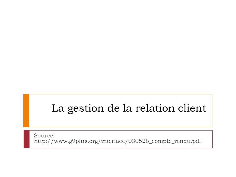 La gestion de la relation client Source: http://www.g9plus.org/interface/030526_compte_rendu.pdf