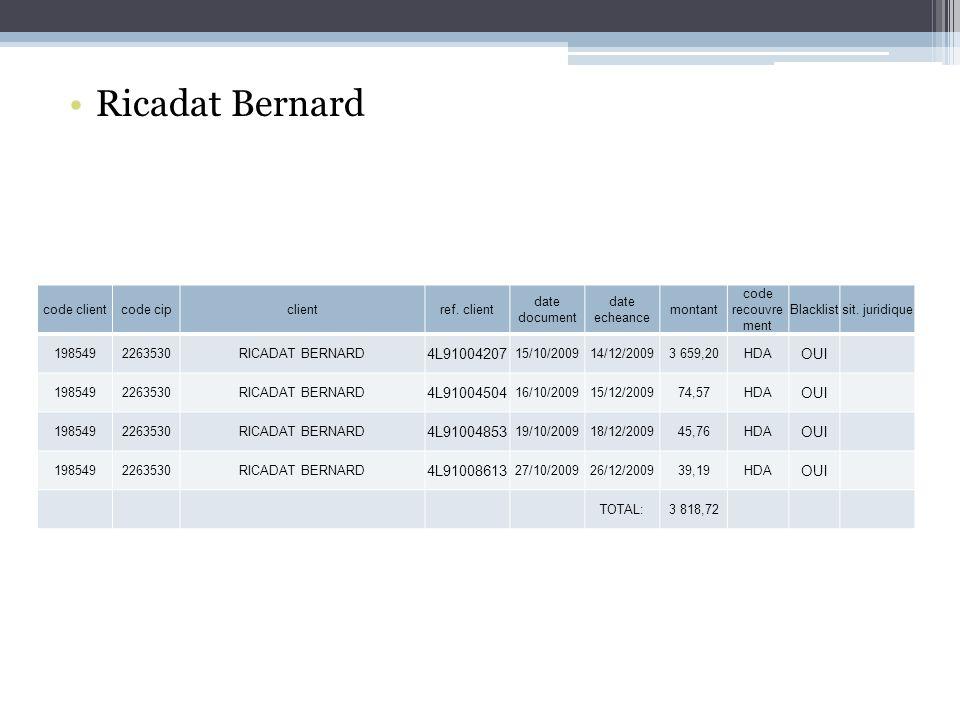 Ricadat Bernard code clientcode cipclientref.