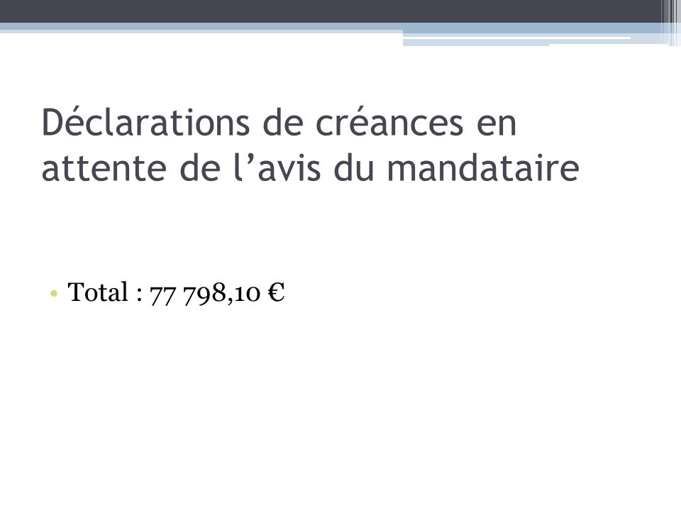 Déclarations de créances en attente de lavis du mandataire Total : 77 798,10