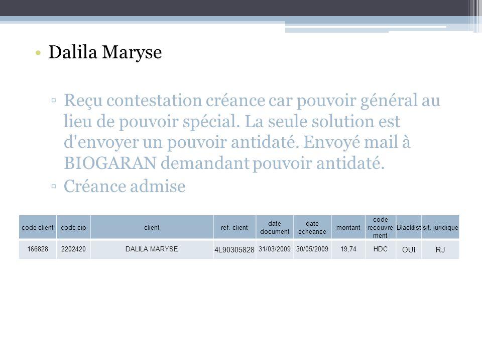 Dalila Maryse Reçu contestation créance car pouvoir général au lieu de pouvoir spécial.
