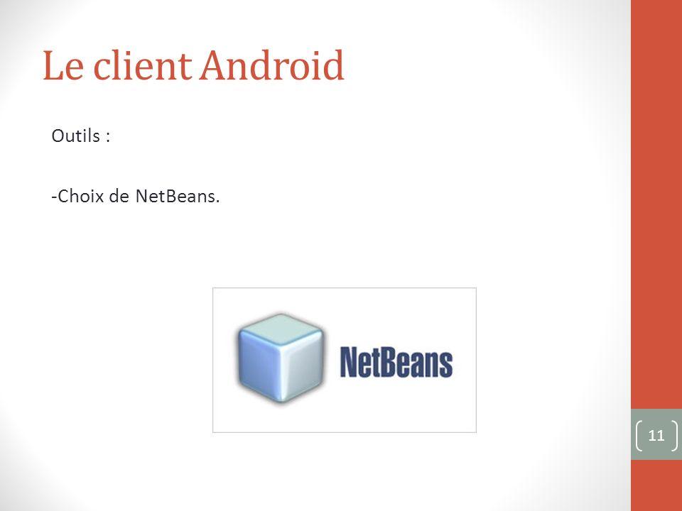 Le client Android Outils : -Choix de NetBeans. 11