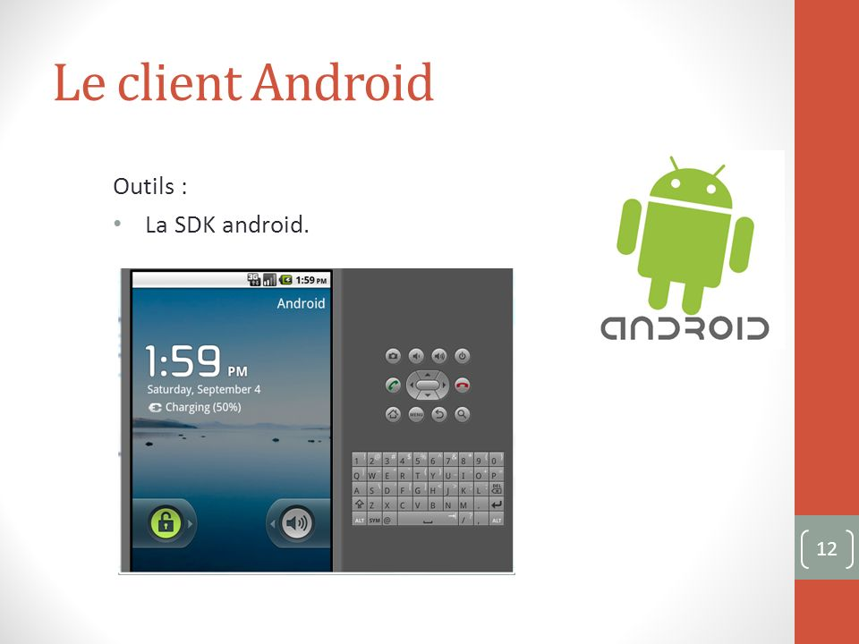 Le client Android Outils : La SDK android. 12