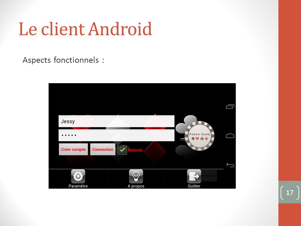 Le client Android Aspects fonctionnels : 17