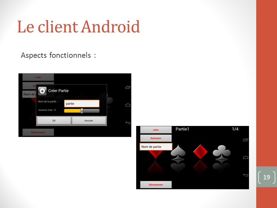Le client Android Aspects fonctionnels : 19