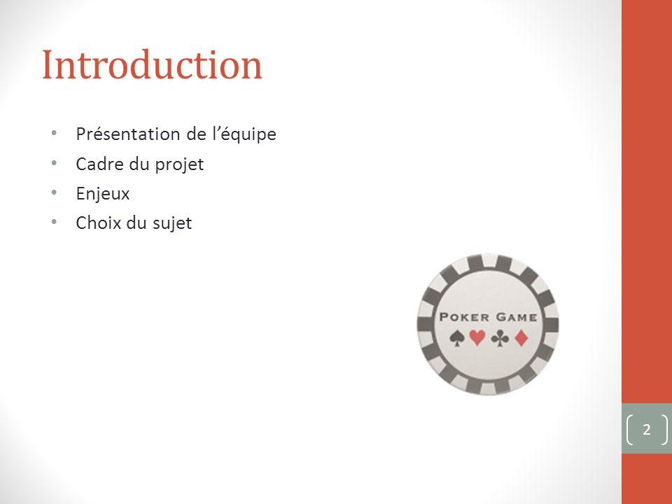 Introduction Présentation de léquipe Cadre du projet Enjeux Choix du sujet 2