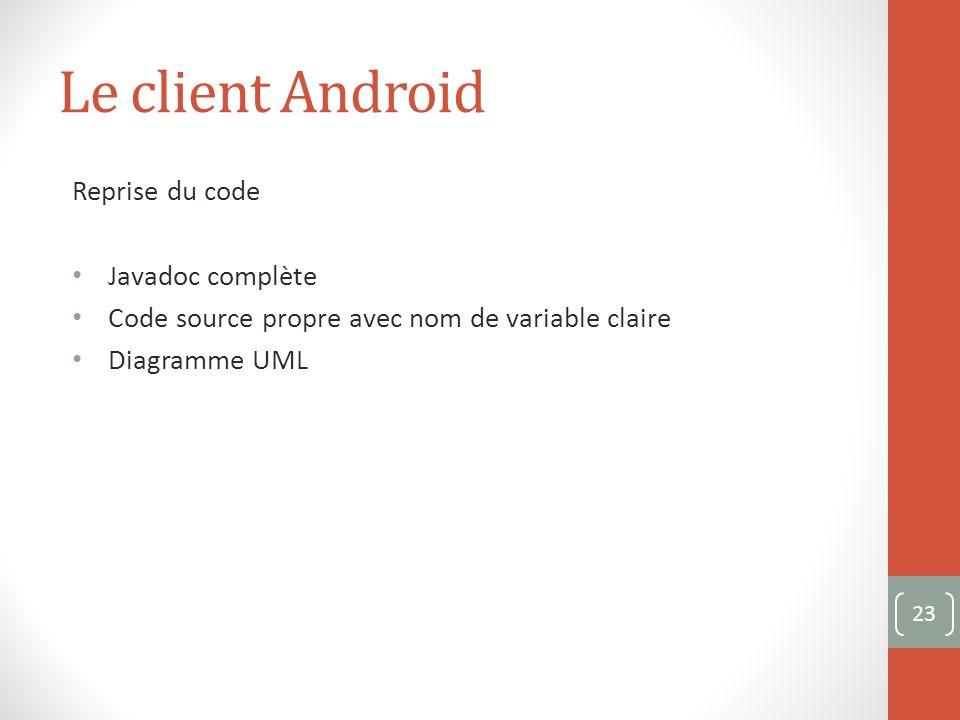 Le client Android Reprise du code Javadoc complète Code source propre avec nom de variable claire Diagramme UML 23