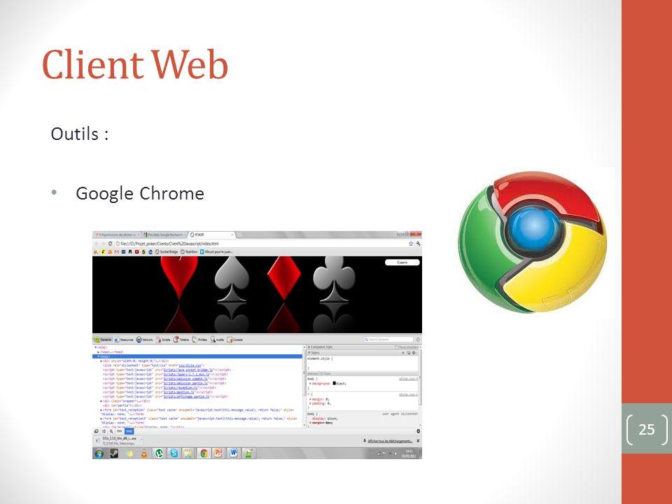 Client Web Outils : Google Chrome 25
