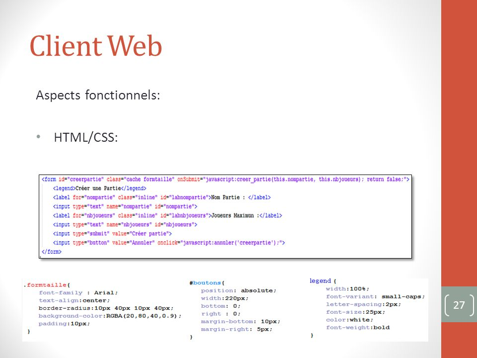 Client Web Aspects fonctionnels: HTML/CSS: 27