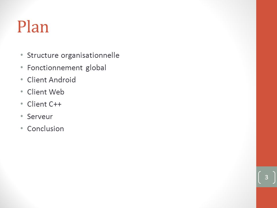 Plan Structure organisationnelle Fonctionnement global Client Android Client Web Client C++ Serveur Conclusion 3