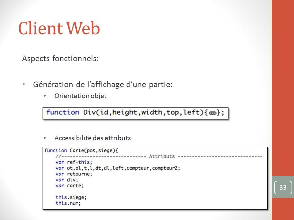 Client Web Aspects fonctionnels: Génération de laffichage dune partie: Orientation objet Accessibilité des attributs 33