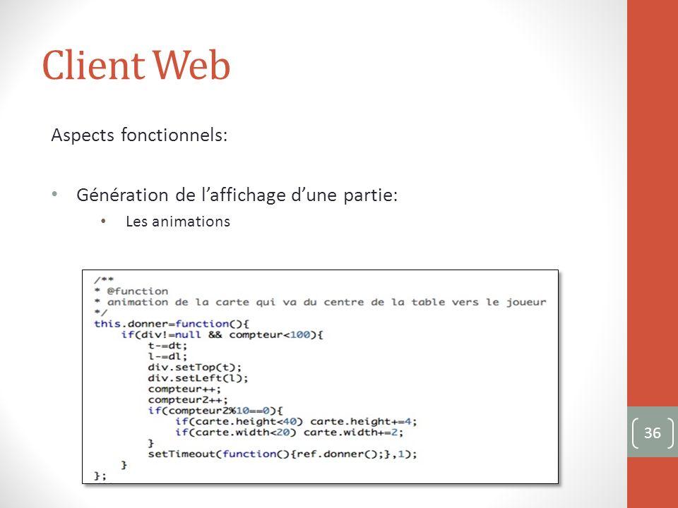 Client Web Aspects fonctionnels: Génération de laffichage dune partie: Les animations 36