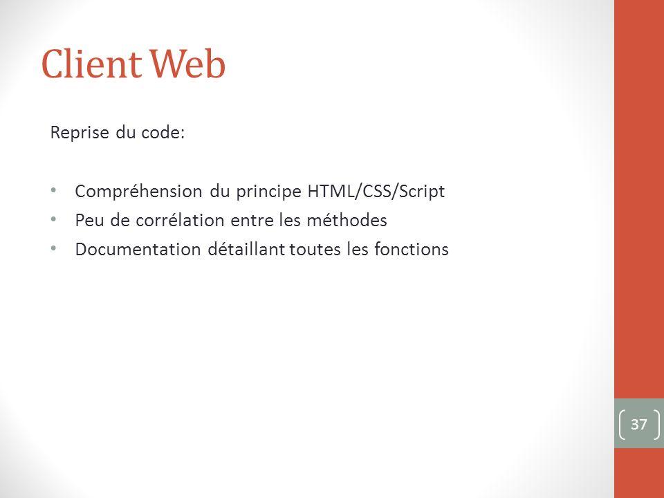 Client Web Reprise du code: Compréhension du principe HTML/CSS/Script Peu de corrélation entre les méthodes Documentation détaillant toutes les fonctions 37
