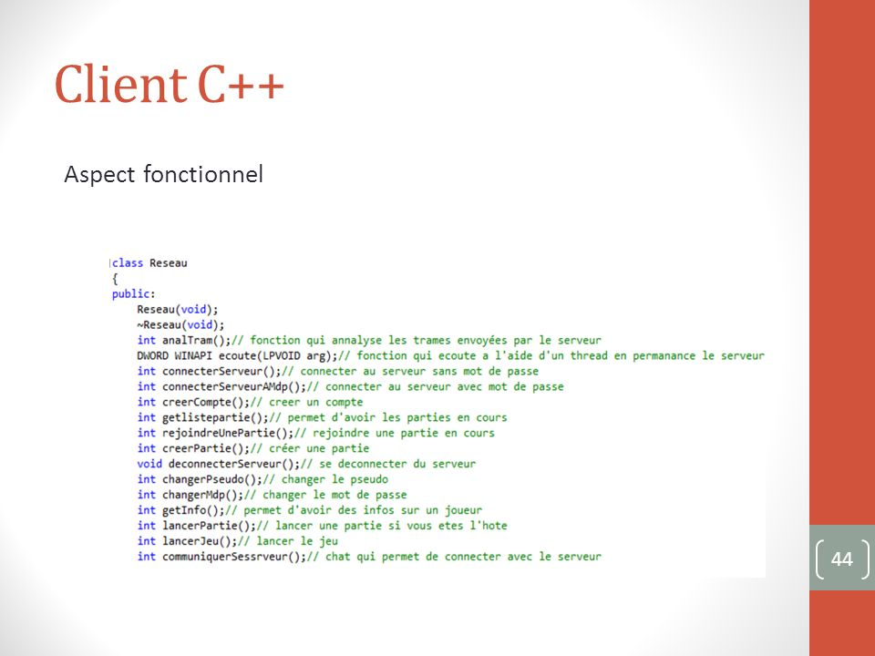 Client C++ Aspect fonctionnel 44