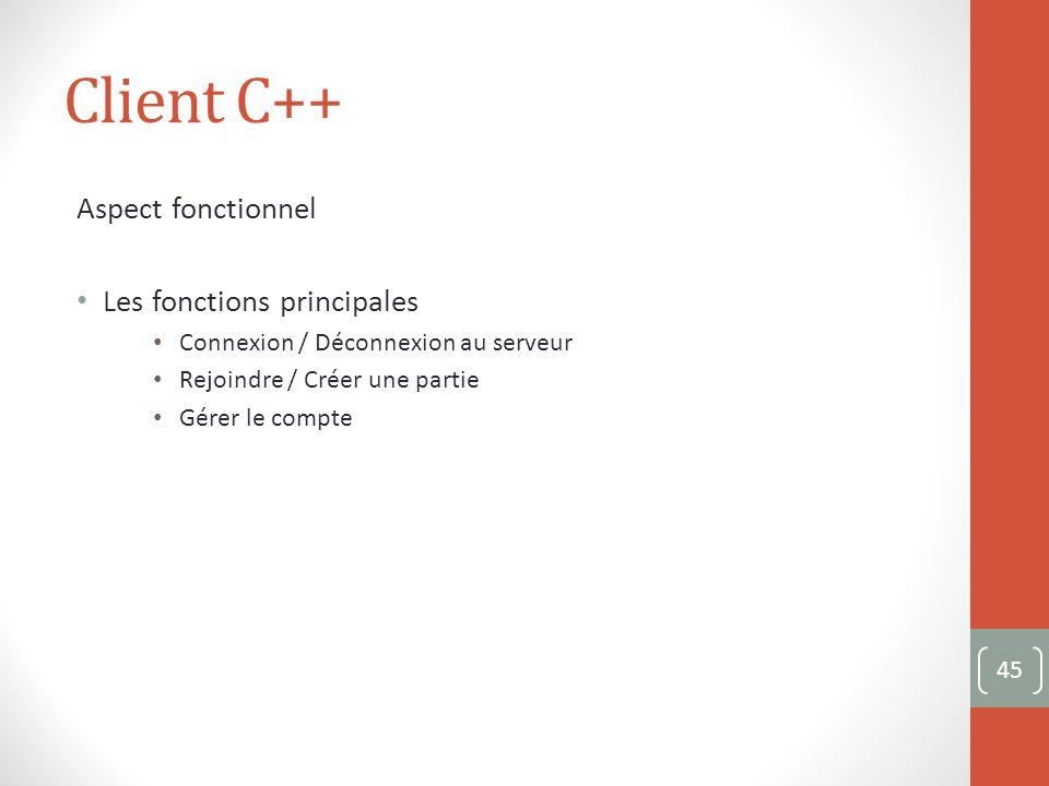 Client C++ Aspect fonctionnel Les fonctions principales Connexion / Déconnexion au serveur Rejoindre / Créer une partie Gérer le compte 45