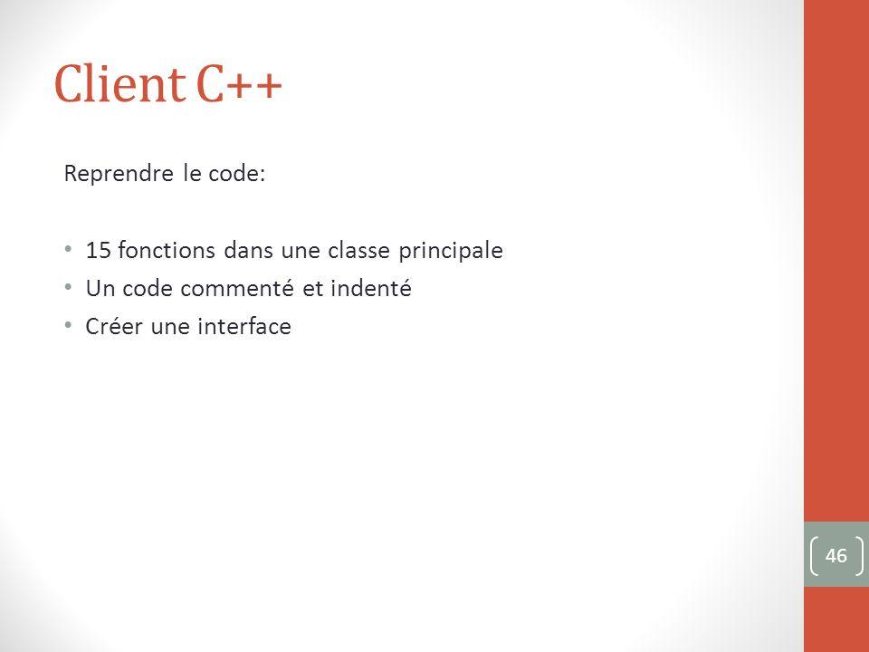 Client C++ Reprendre le code: 15 fonctions dans une classe principale Un code commenté et indenté Créer une interface 46