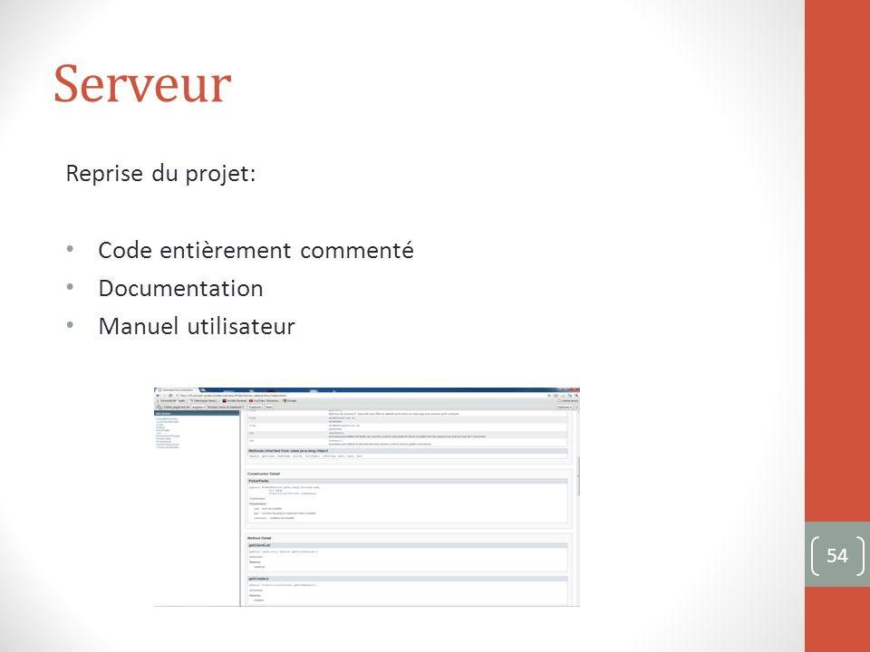 Serveur Reprise du projet: Code entièrement commenté Documentation Manuel utilisateur 54