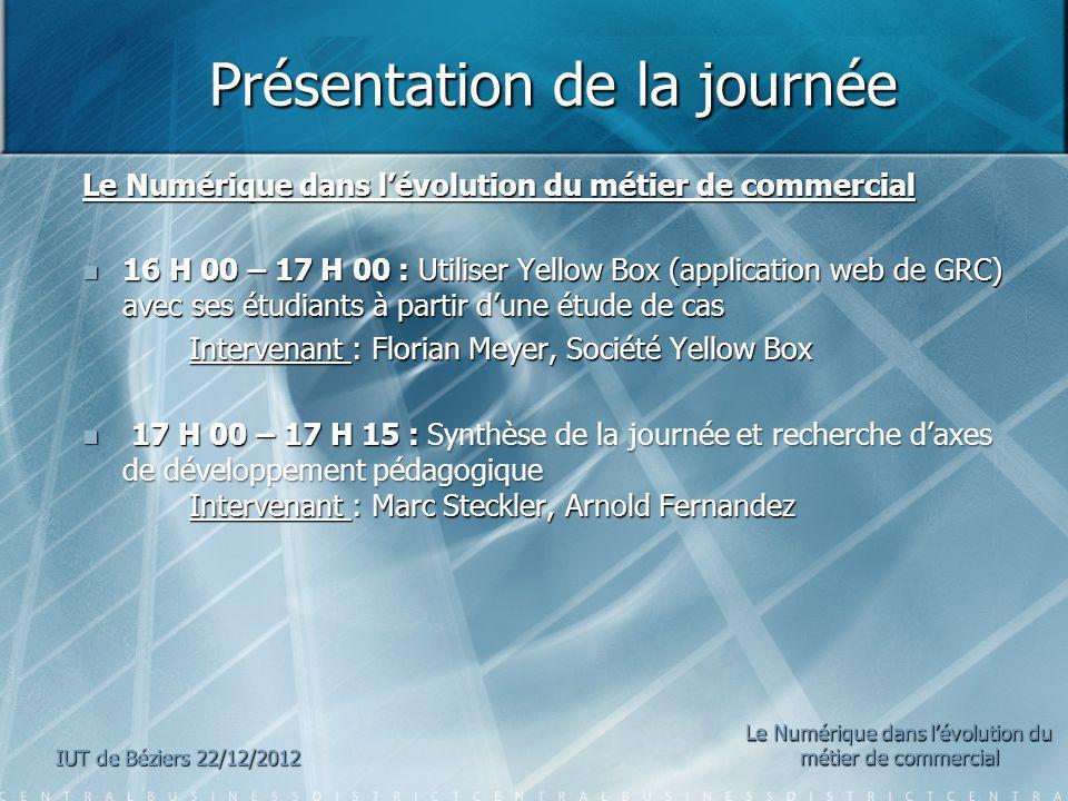 Présentation de la journée Présentation de la journée Le Numérique dans lévolution du métier de commercial 16 H 00 – 17 H 00 : Utiliser Yellow Box (ap