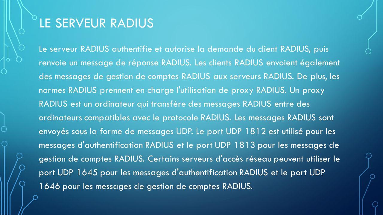 LE SERVEUR RADIUS Le serveur RADIUS authentifie et autorise la demande du client RADIUS, puis renvoie un message de réponse RADIUS.