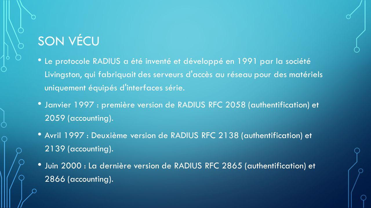 SON VÉCU Le protocole RADIUS a été inventé et développé en 1991 par la société Livingston, qui fabriquait des serveurs d accès au réseau pour des matériels uniquement équipés d interfaces série.