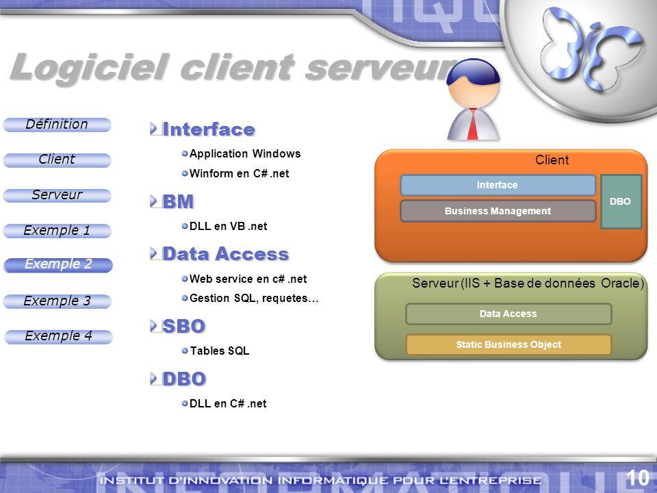 Définition 10 Exemple 2 Client Exemple 1 Exemple 3 Serveur Exemple 4 Logiciel client serveur Exemple 2 Interface Business Management Data Access Static Business Object DBO Client Interface Application Windows Winform en C#.netBM DLL en VB.net Data Access Web service en c#.net Gestion SQL, requetes…SBO Tables SQLDBO DLL en C#.net Serveur (IIS + Base de données Oracle)
