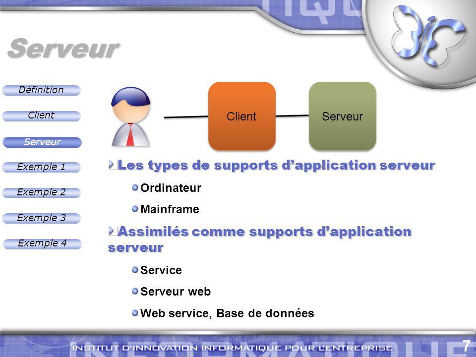 Définition 7 Exemple 2 Client Exemple 1 Exemple 3 Serveur Exemple 4 Serveur Les types de supports dapplication serveur Ordinateur Mainframe Assimilés comme supports dapplication serveur Service Serveur web Web service, Base de données Serveur Client Serveur
