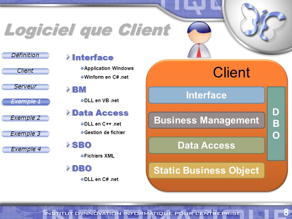 Définition 8 Exemple 2 Client Exemple 1 Exemple 3 Serveur Exemple 4 Logiciel que Client Exemple 1 Interface Business Management Data Access Static Business Object DBODBO Client Interface Application Windows Winform en C#.netBM DLL en VB.net Data Access DLL en C++.net Gestion de fichierSBO Fichiers XMLDBO DLL en C#.net
