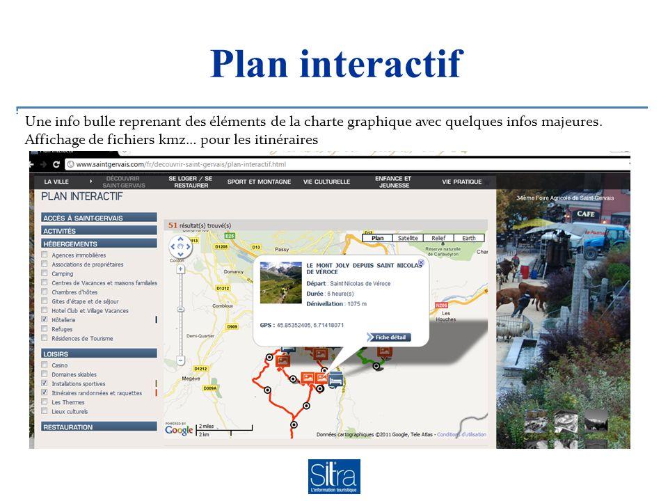 Plan interactif Une info bulle reprenant des éléments de la charte graphique avec quelques infos majeures. Affichage de fichiers kmz… pour les itinéra