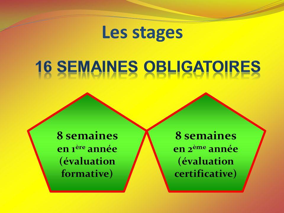 Les stages 8 semaines en 1 ère année (évaluation formative) 8 semaines en 2 ème année (évaluation certificative)