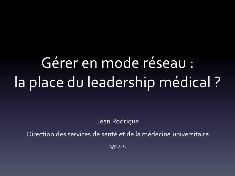 Gérer en mode réseau : la place du leadership médical .