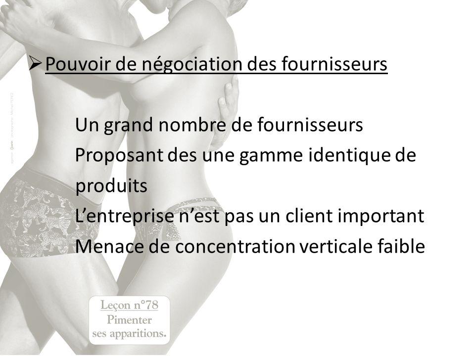 Pouvoir de négociation des fournisseurs Un grand nombre de fournisseurs Proposant des une gamme identique de produits Lentreprise nest pas un client i