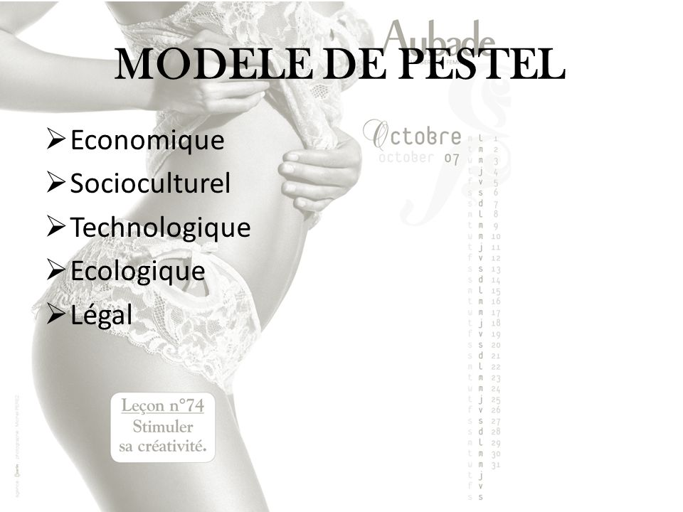 MODELE DE PESTEL Economique Socioculturel Technologique Ecologique Légal