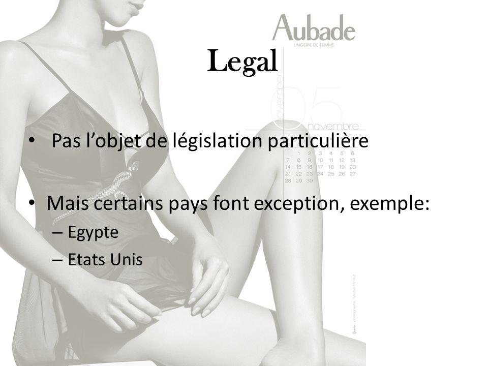 Legal Pas lobjet de législation particulière Mais certains pays font exception, exemple: – Egypte – Etats Unis