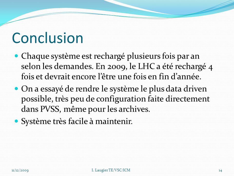 Conclusion Chaque système est rechargé plusieurs fois par an selon les demandes. En 2009, le LHC a été rechargé 4 fois et devrait encore lêtre une foi