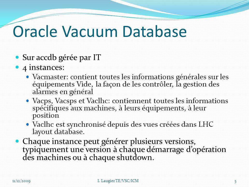 Oracle Vacuum Database Sur accdb gérée par IT 4 instances: Vacmaster: contient toutes les informations générales sur les équipements Vide, la façon de les contrôler, la gestion des alarmes en général Vacps, Vacsps et Vaclhc: contiennent toutes les informations spécifiques aux machines, à leurs équipements, à leur position Vaclhc est synchronisé depuis des vues créées dans LHC layout database.