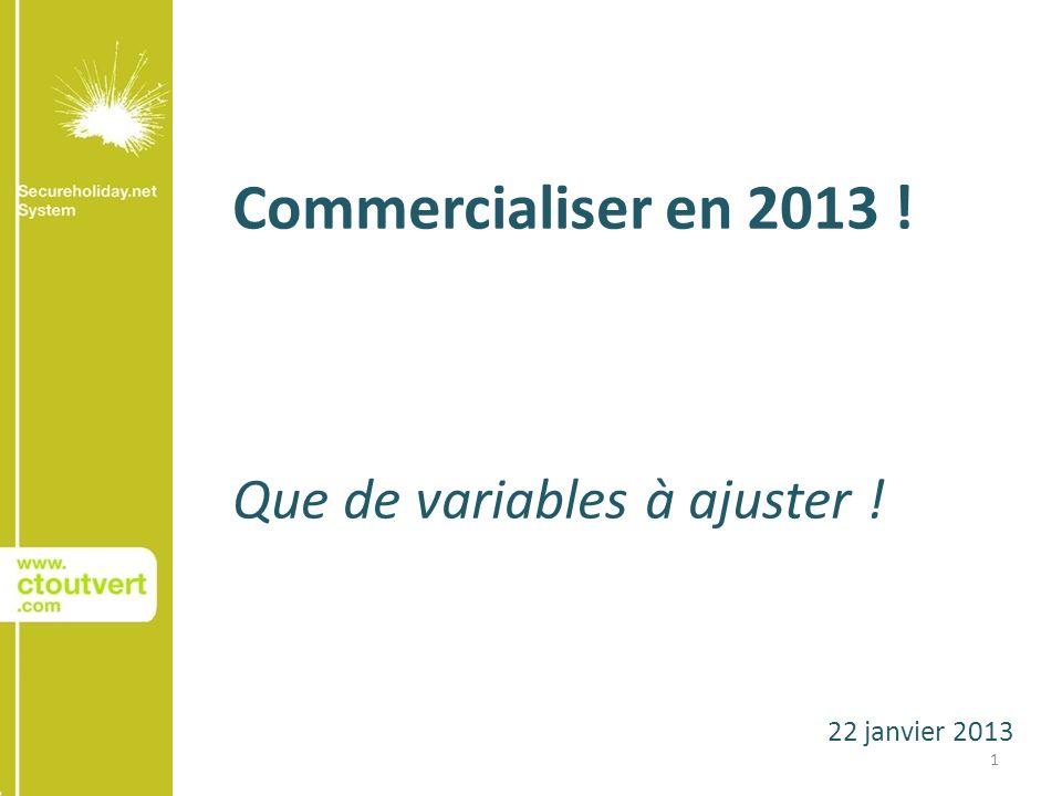 22 janvier 2013 Commercialiser en 2013 ! Que de variables à ajuster ! 1