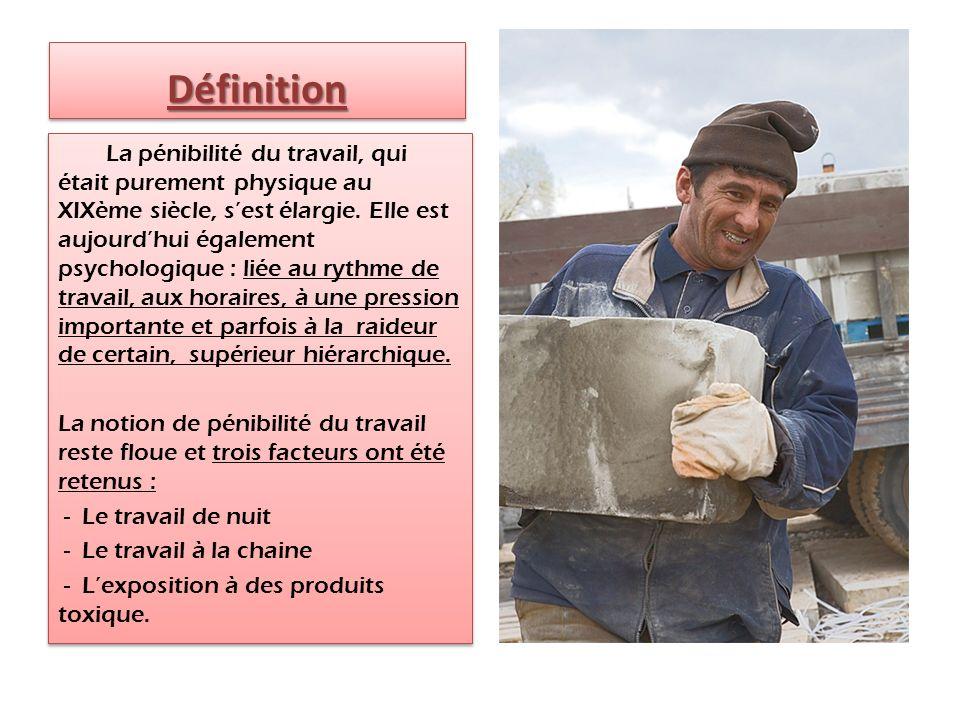 DéfinitionDéfinition La pénibilité du travail, qui était purement physique au XIXème siècle, sest élargie.