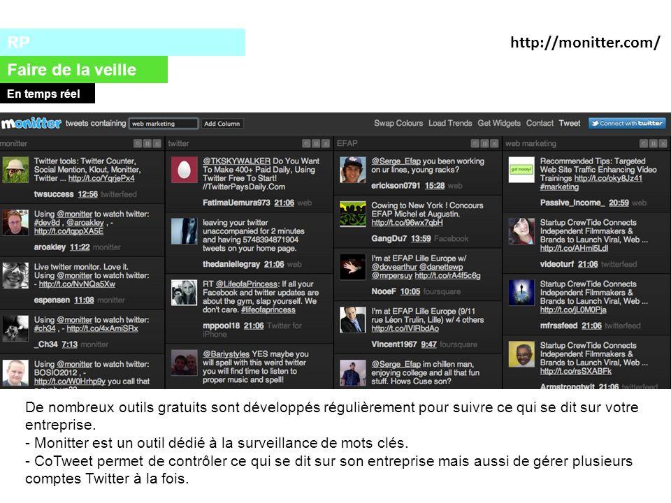 RP Faire de la veille En temps réel http://monitter.com/ De nombreux outils gratuits sont développés régulièrement pour suivre ce qui se dit sur votre entreprise.