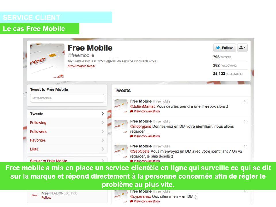 SERVICE CLIENT Le cas Free Mobile Free mobile a mis en place un service clientèle en ligne qui surveille ce qui se dit sur la marque et répond directement à la personne concernée afin de régler le problème au plus vite.