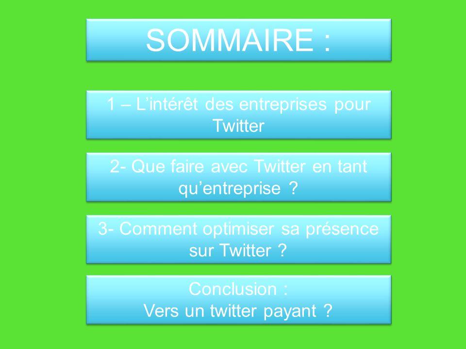 SOMMAIRE : 1 – Lintérêt des entreprises pour Twitter 2- Que faire avec Twitter en tant quentreprise .